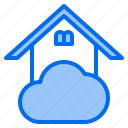 cloud, home, mark, rain, sunny, time, windy icon