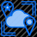 cloud, mark, point, rain, sunny, time, windy icon