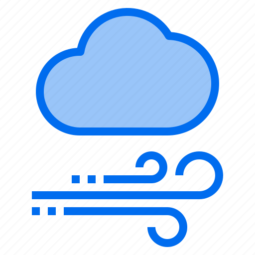 cloud, mark, rain, sunny, time, wind, windy icon