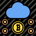 bitcoin, cloud, mark, rain, sunny, time, windy icon