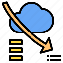 cloud, down, mark, rain, sunny, time, windy icon