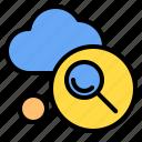 cloud, mark, rain, search, sunny, time, windy icon