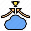 cloud, mark, rain, sunny, time, up, win icon