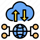 cloud, down, network, time, up, windy, worldwire icon