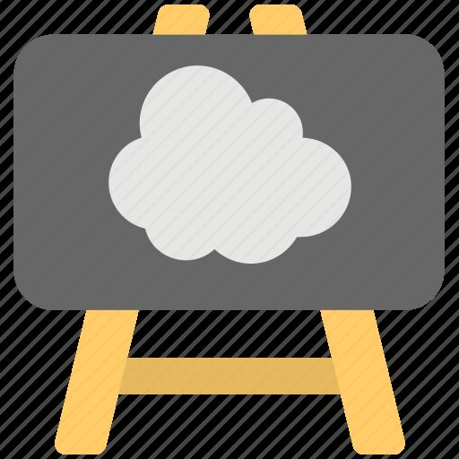 cloud computing, cloud easel, cloud presentation, cloud technology, technology connectivity concept icon
