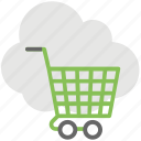cloud computing service, cloud shopping, cloud shopping cart, ecommerce, online shopping icon