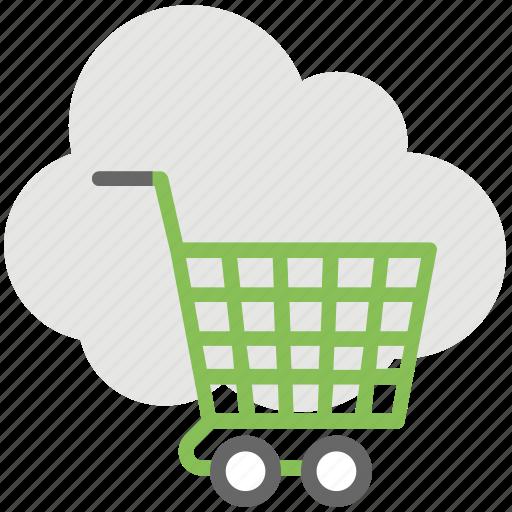 cloud computing service, cloud shopping, cloud shopping cart, ecommerce, online shopping icon