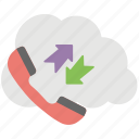 cloud call, cloud communication, cloud computing telephone, telecommunication technology, wireless call icon