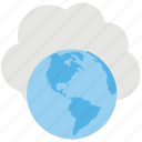 cloud globe, global cloud computing, information technology, service cloud, web browser icon