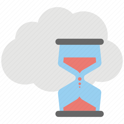 android app, cloud computing storage, cloud hourglass, cloud loading, cloud service icon