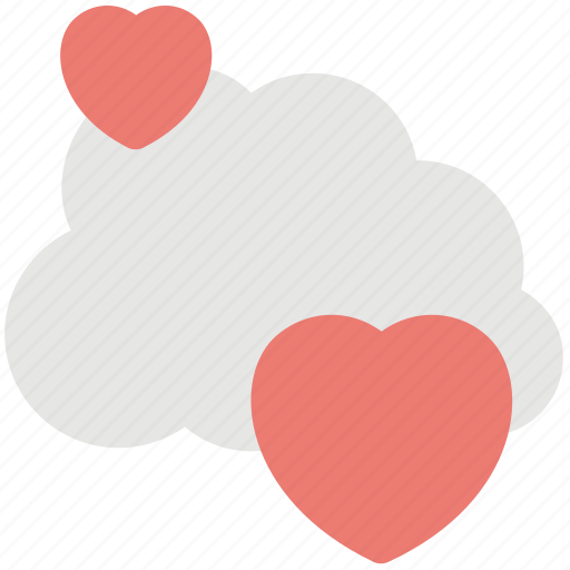 cloud computing hearts, cloud dating element, dating website emblem, love cloud logo, online love concept icon