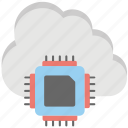 cloud chip, cloud computing chip, cloud cpu, cloud processor chip, hybrid cloud icon