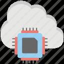 cloud chip, cloud computing chip, cloud cpu, cloud processor chip, hybrid cloud icon