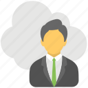 cloud businessman, remote employees, remote infrastructure management, remote workers icon