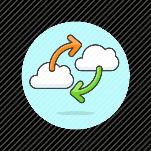 arrow, cloud, data, exchange, file, server, technology icon
