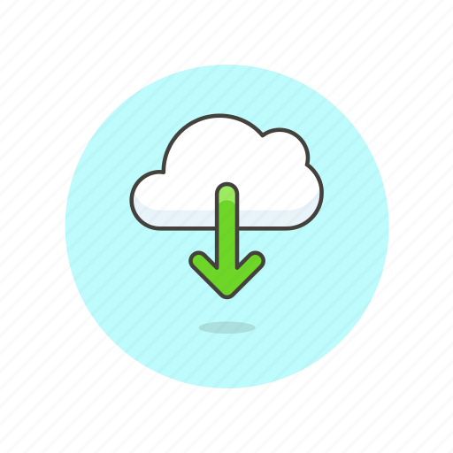 arrow, cloud, download, file, save, storage, technology icon