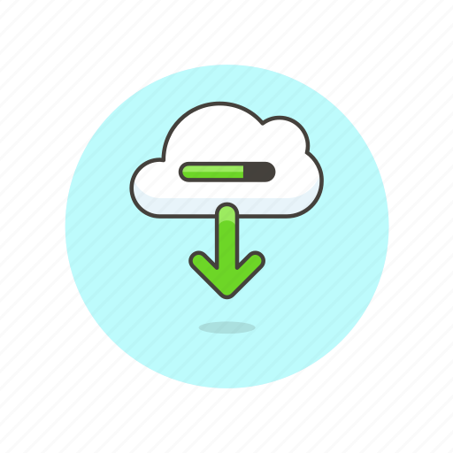 arrow, cloud, download, file, in, progress, save, technology icon