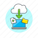 arrow, audio, cloud, download, file, laptop, media, technology icon