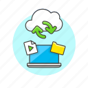 arrow, audio, cloud, file, laptop, media, sync, technology icon