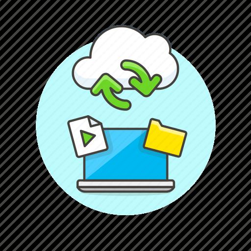 arrow, audio, cloud, file, laptop, media, sync, technology icon
