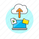 arrow, audio, cloud, file, laptop, media, technology, upload icon