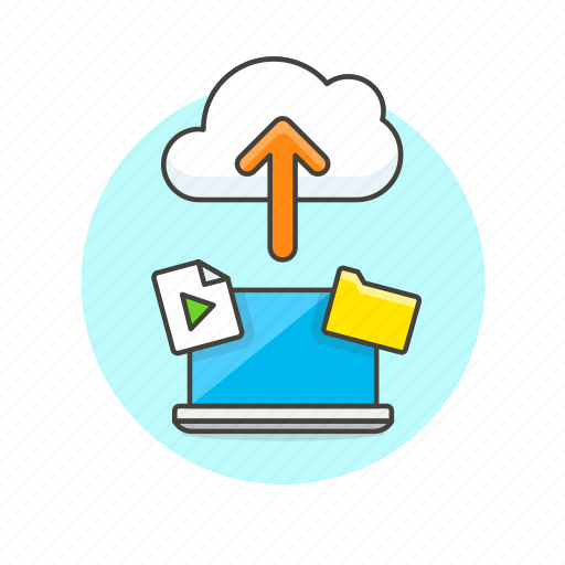 arrow, audio, cloud, file, laptop, media, technology, upload icon