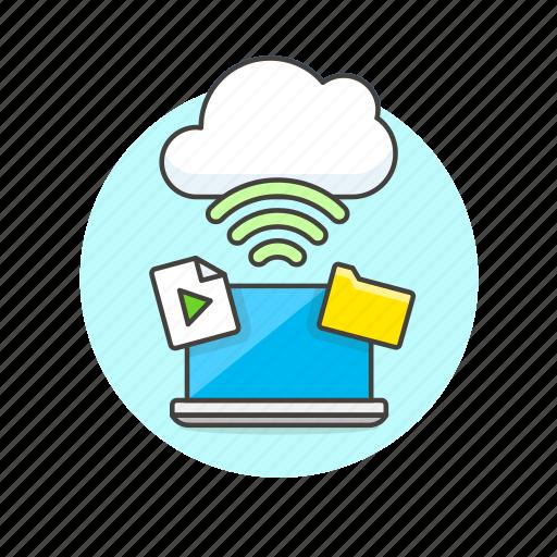 audio, cloud, connection, file, laptop, media, wifi, wireless icon
