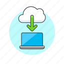 cloud, computing, download, laptop icon