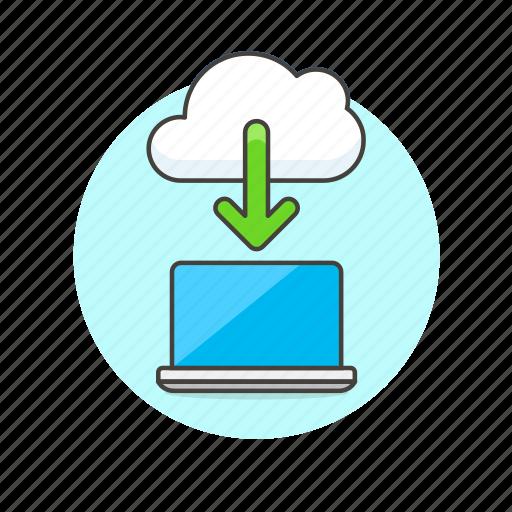 arrow, cloud, computing, download, file, laptop, technology icon