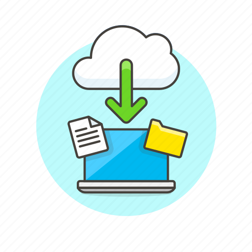 arrow, cloud, computing, download, file, laptop, technology icon