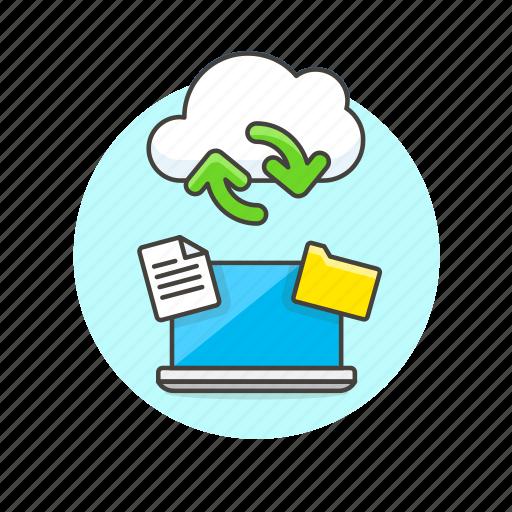 arrow, cloud, file, laptop, process, sync, technology icon
