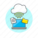 arrow, cloud, connection, file, laptop, technology, wireless icon