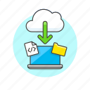 arrow, cloud, computing, download, file, html, laptop, technology icon