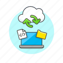 arrow, cloud, computing, file, html, laptop, sync, technology icon