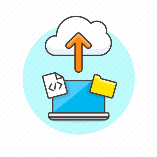 arrow, cloud, computing, file, html, laptop, technology, upload icon
