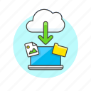 arrow, cloud, download, file, image, laptop, picture, technology icon