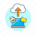 arrow, cloud, file, image, laptop, picture, send, upload icon