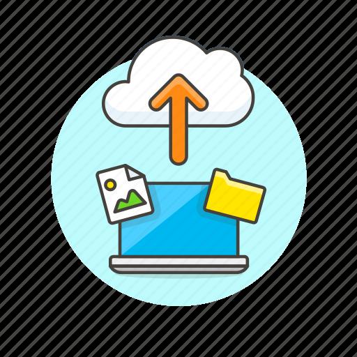 arrow, cloud, file, image, laptop, picture, send, upload icon