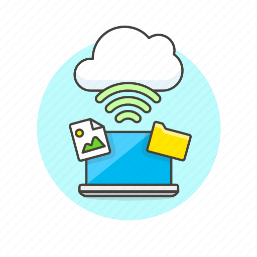 cloud, connection, file, image, laptop, picture, technology, wireless icon