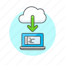 arrow, cloud, code, download, file, laptop, technology icon