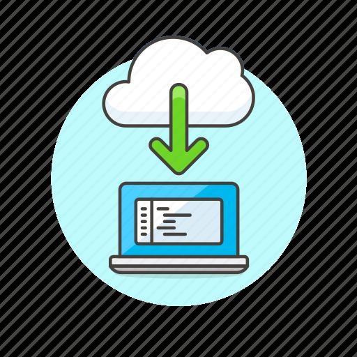 arrow, cloud, code, download, file, laptop, technology icon