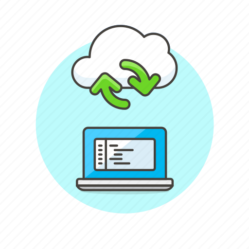 arrow, cloud, code, computing, file, laptop, sync, technology icon