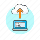 arrow, cloud, code, file, laptop, programming, technology, upload icon