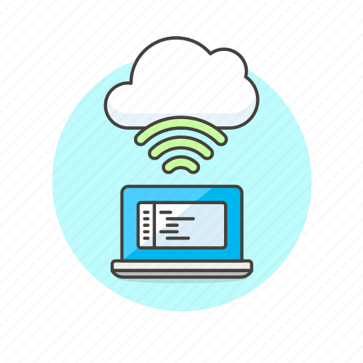 arrow, cloud, code, connection, file, laptop, technology, wireless icon