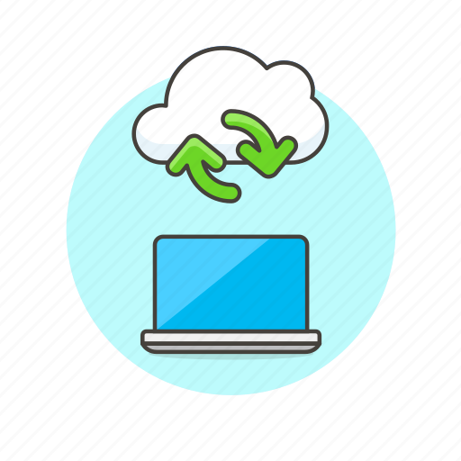 arrow, cloud, computer, file, laptop, sync, technology icon