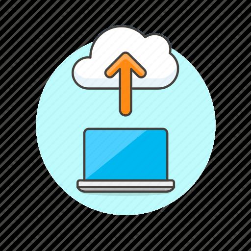 arrow, cloud, computing, file, laptop, technology, upload icon
