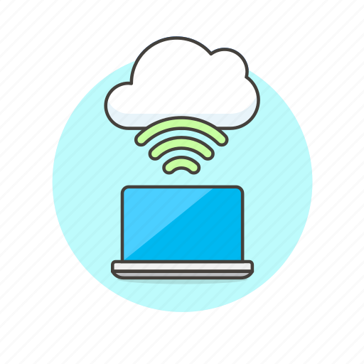 cloud, connection, file, laptop, technology, wifi, wireless icon