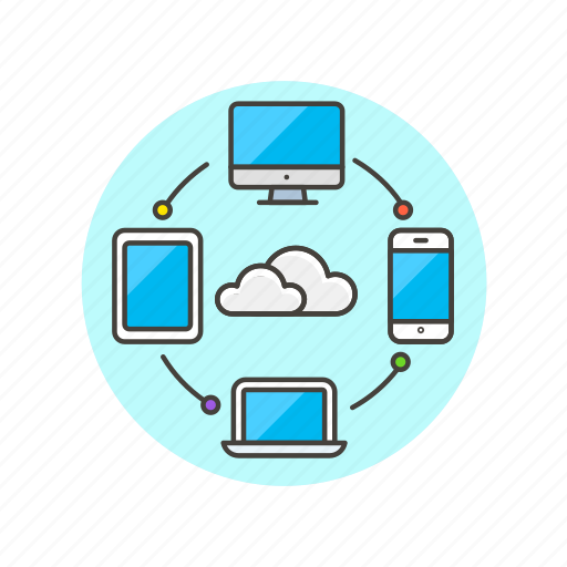 arrow, cloud, computing, device, file, network, sync, technology icon