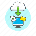 arrow, audio, cloud, computer, download, file, media, personal, technology icon