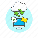 arrow, audio, cloud, computer, exchange, file, media, sync icon